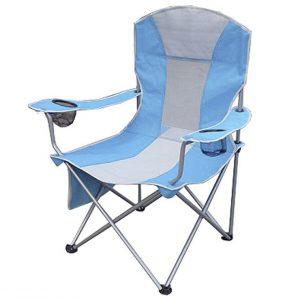 Campingstuhl mit zwei Getränkehaltern und einer Magazintasche, Farbe: hellblau/grau