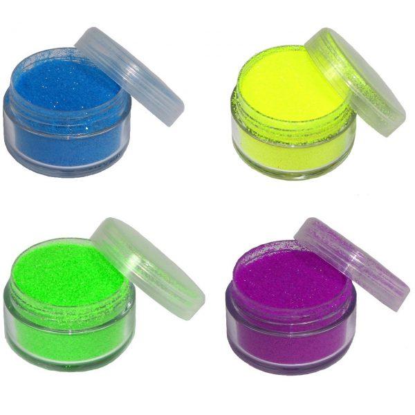 Glitter Neon in 5 ml Dose, Farben: neon-blau, neon-gelb, neon-grün, neon-lila