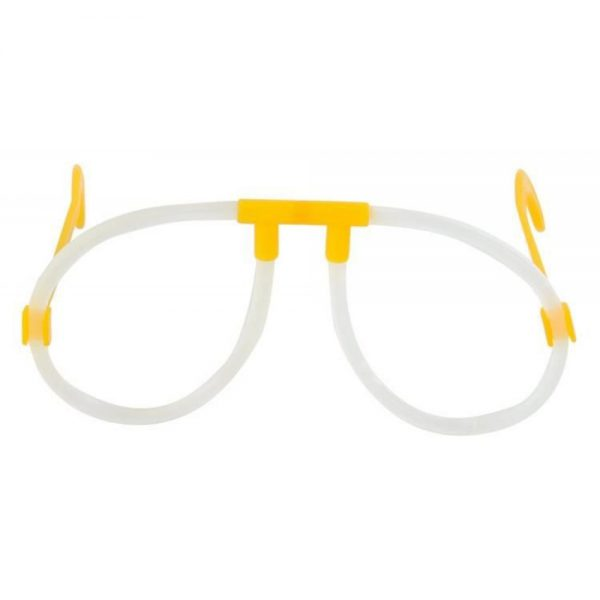Knicklicht Partybrille mit zwei blauen Knicklichtern, ungeknickt