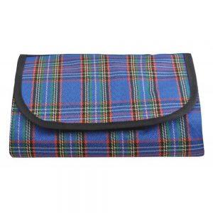 Picknickdecke 145x180cm, blau mit rot-grünen Streifen