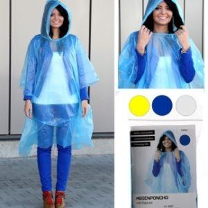 Regenponcho, Farben: transparent, gelb, blau